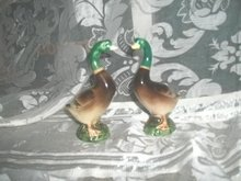 Vintage Handpainted  Porcelain Duck Pair