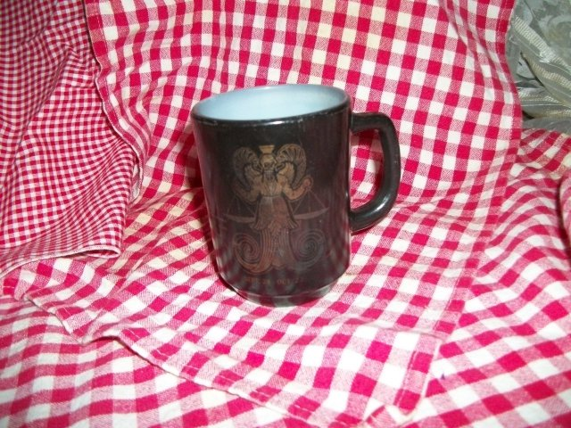 Vintage Fire King Black  Zodiac Mug