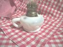 Vintage White Opalescent Glass Miniature Oil Lamp