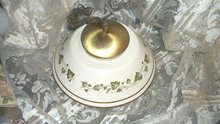 Vintage Enamelware Shade & Ceiling Mount Light Fixture