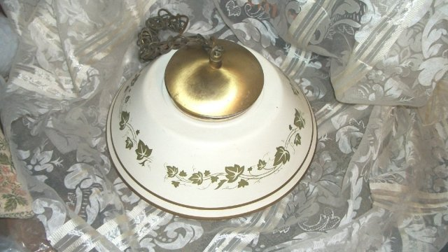 Vintage Enamelware Shade & Ceiling Mount Light Fixture