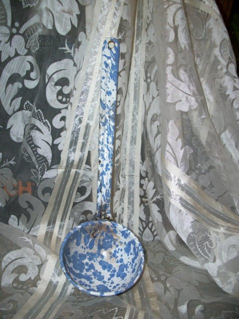 Antique Blue & White Swirl Graniteware Dipper