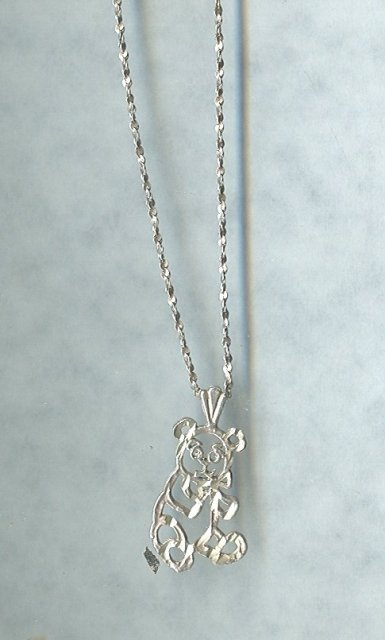 Silver Chain & Tedy Bear Pendant