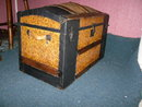 Antique Embossed Metal Camel Back Trunk