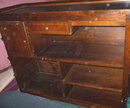 Large Wood Bar w/Brass Foot Rail & 2 Stools  ***MUST SEE****