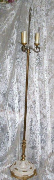Vintage Brass Floor Lamp w/3 Lights