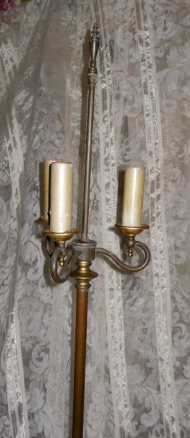 Vintage Brass Floor Lamp w/3 Lights