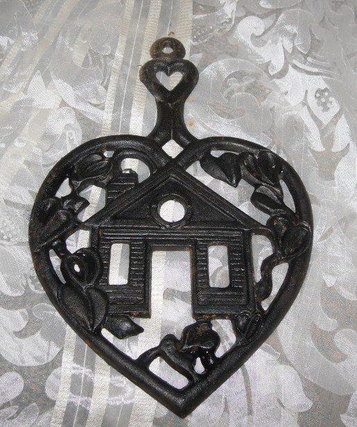 Vintage Cast Iron Heart Trivet