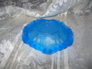 Vintage Frosted Blue Glass Rose Ashtray