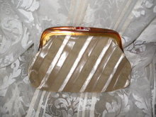 Vintage Leather Clutch Handbag w/Lucite Handle