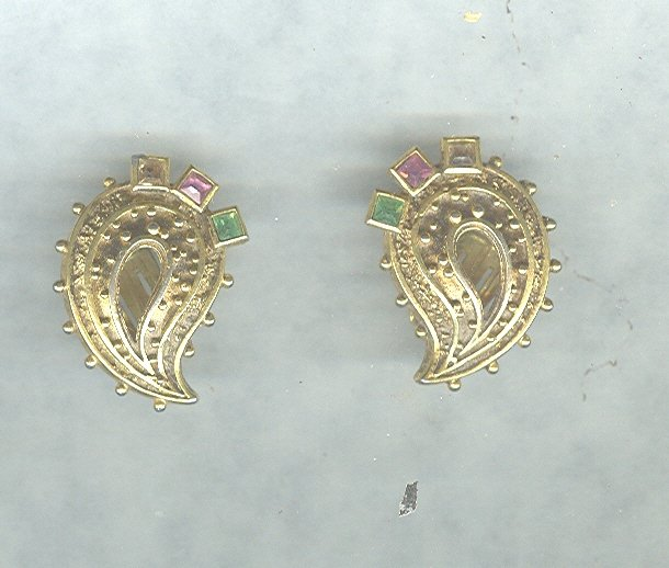 Vintage  Pastel Rhinestone Earrings