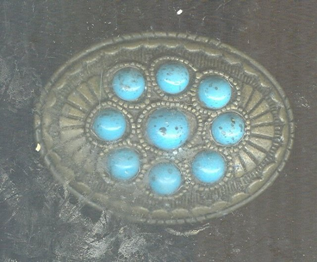 Metal w/Turquoise Belt Buckle