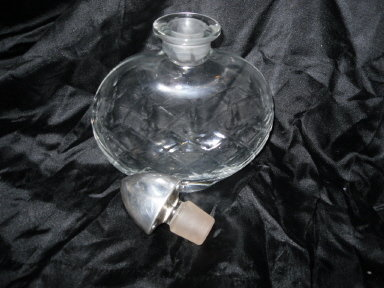 Vintage Glass Decanter Pair  w/ Sterling Silver Stoppers