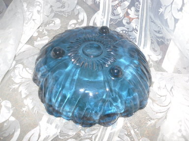 Vintage Large Blue Glass Footed Dish