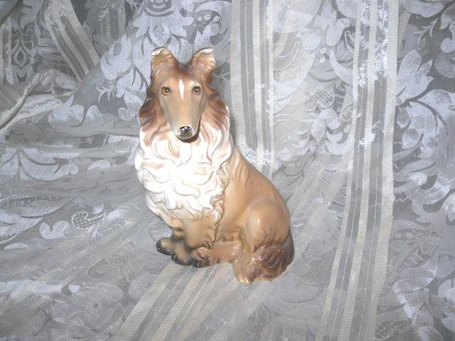 Vintage Porcelain Collie Dog Figurine
