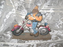 Americana Chopper Motorcycle & Biker Dude