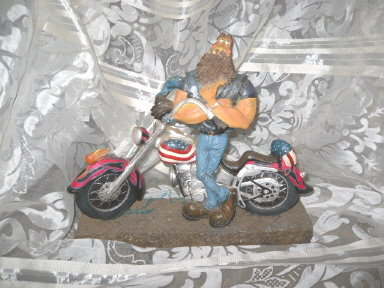 Americana Chopper Motorcycle & Biker Dude
