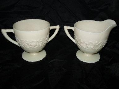 Vintage Indiana Custard Glass Cream & Sugar Set