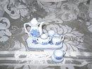 Miniature Blue & White Porcelain Tea Set