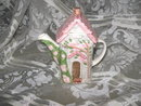 Porcelain Cottage w/Pink Flowers Teapot