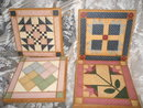Hand Painted Quilt Squares on Wood  **Set of 4**
