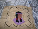 Vintage Hand Made Indian Maiden Fabric Square