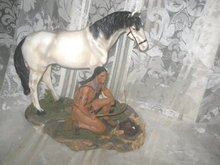 Native American Brave & Horse Figurine  **2  Piece