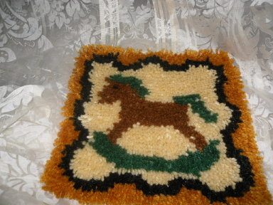 Vintage Latch Hook Rug Rocking Horse