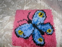 Vintage Latch Hook Rug Butterfly