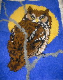 Vintage Large Latch Hook Owl Rug