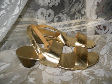 Vintage Ladies Gold Lame' Shoes