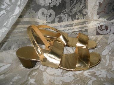Vintage Ladies Gold Lame' Shoes