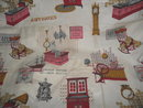 Vintage Antique Shop Fabric w/Antique Furniture, Clocks & More