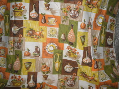 Retro Vintage Fabric w/Pottery Vases, Jugs & Caraf