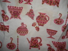 Retro Vintage Fabric w/Pink Vases, Jugs & Spoons