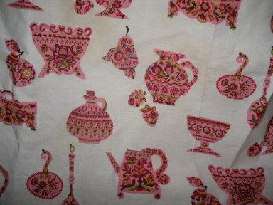 Retro Vintage Fabric w/Pink Vases, Jugs & Spoons