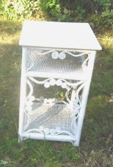 Fancy Victorian White Wicker Side Table