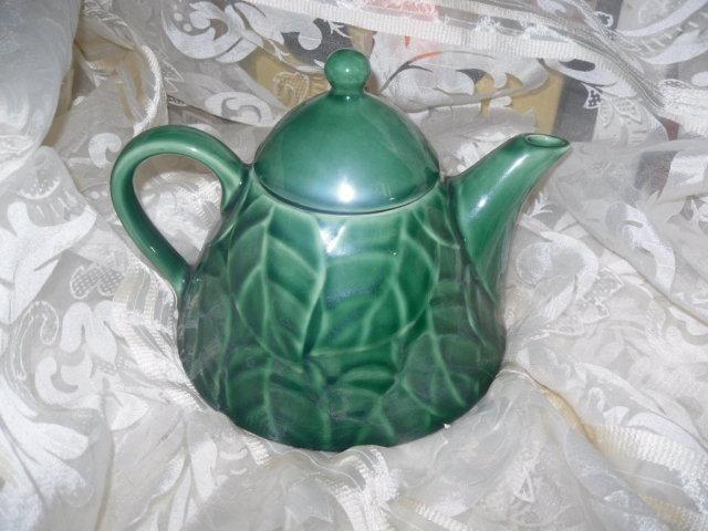 Pier 1 Imports Jade Leaves Stoneware Teapot