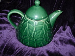Pier 1 Imports Jade Leaves Stoneware Teapot