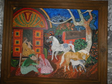 Vintage  Original Oil Folk Art Horse Painting