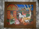 Vintage  Original Oil Folk Art Horse Painting