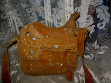 Vintage Leather Saddle Purse or Handbag