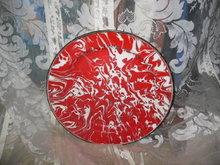 Vintage Red & White Swirl Graniteware Plate