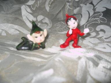 Vintage Pixie Figurine Pair