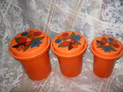 Retro Orange Stackable Canister Set