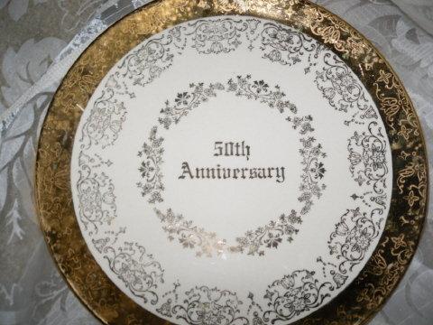 Vintage 50th Golden Wedding Anniversary Plate