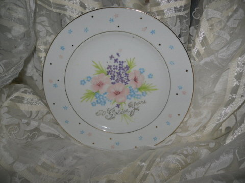 Vintage 50th Golden Wedding Anniversary Plate