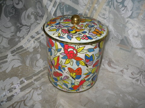 Vintage English Tin Canister w/Butterflies