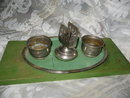 Vintage Metal Match Holder Ashtray Set