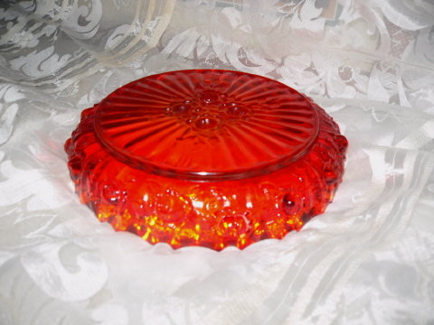 Vintage Red Glass Ashtray